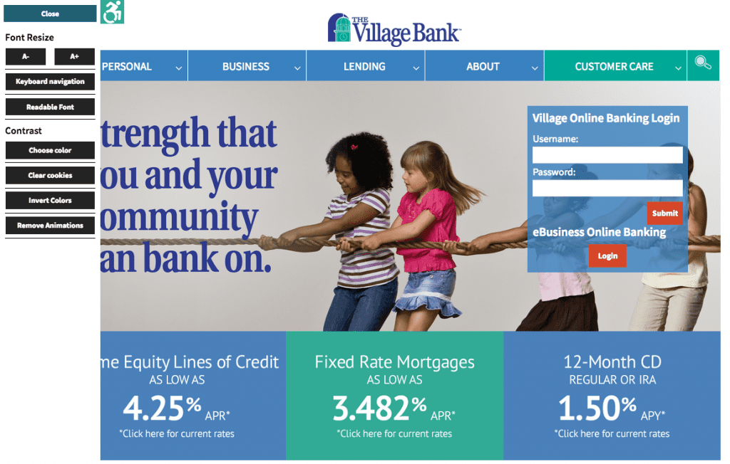 Village Bank Home Page Accessibility