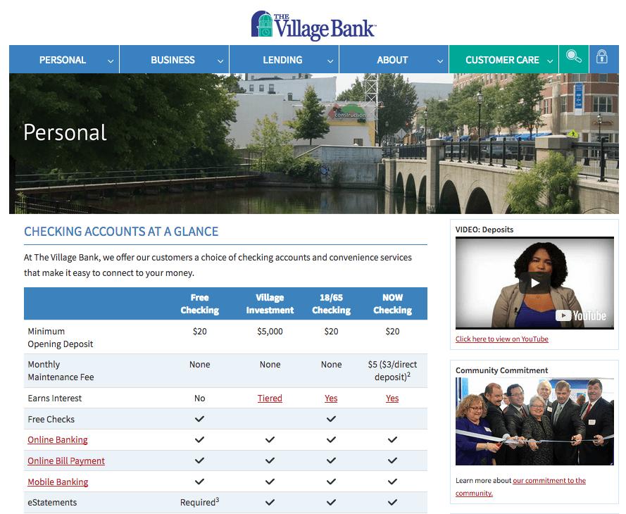 Village Bank Checking Page