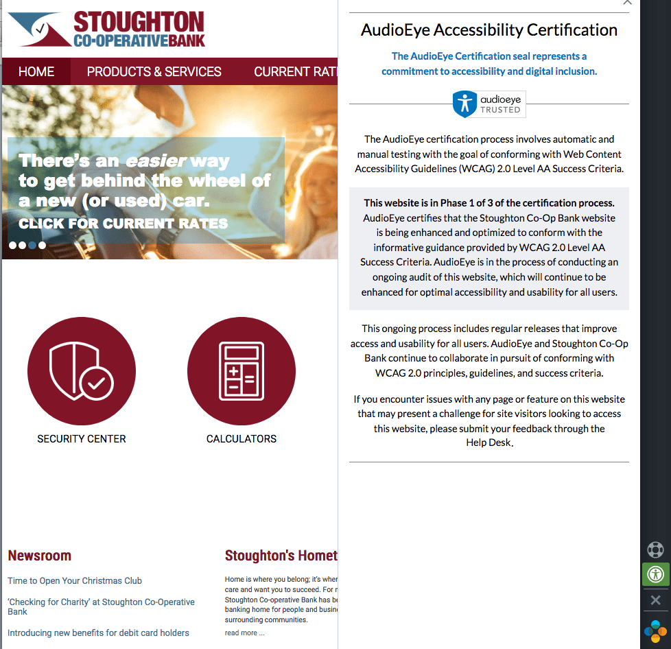 Stoughton Co-Operative Bank website with Accessibility Certification